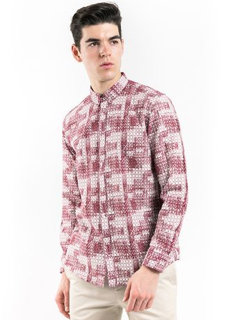 Red color Casual Shirts . MANLY Kemeja Slim Fit Tarquin  -