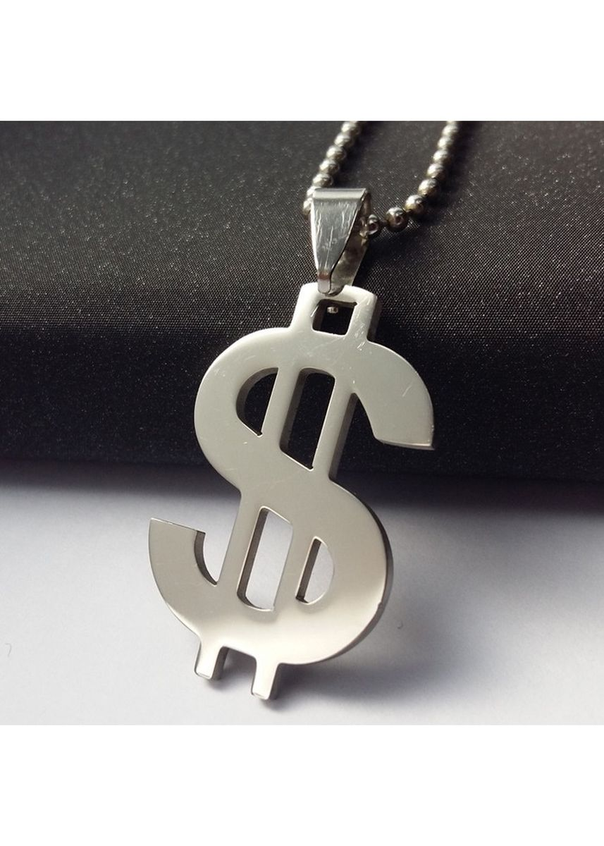 Silver color Necklaces . Unisex Stainless Steel Dollar Pendant -