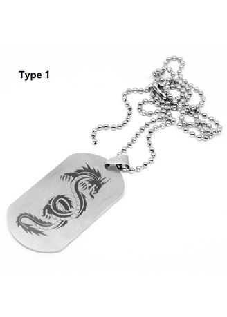 Silver color Necklaces . Men Personality Stainless Steel Dragon Print Pendant - Type 1 -