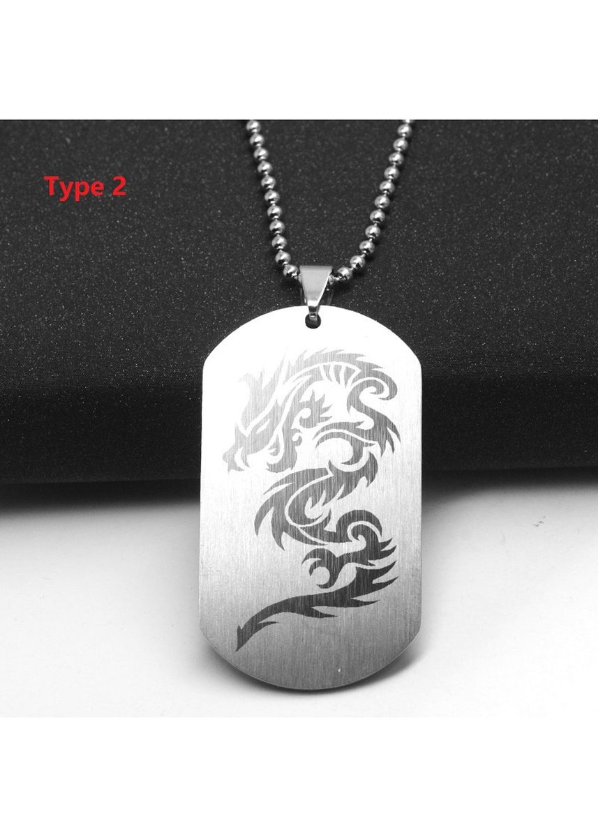 Silver color Necklaces . Men Personality Stainless Steel Dragon Print Pendant - Type 2 -