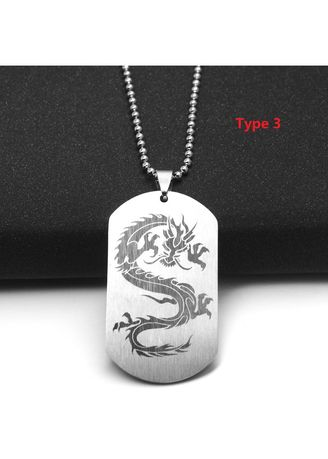 Silver color Necklaces . Men Personality Stainless Steel Dragon Print Pendant -