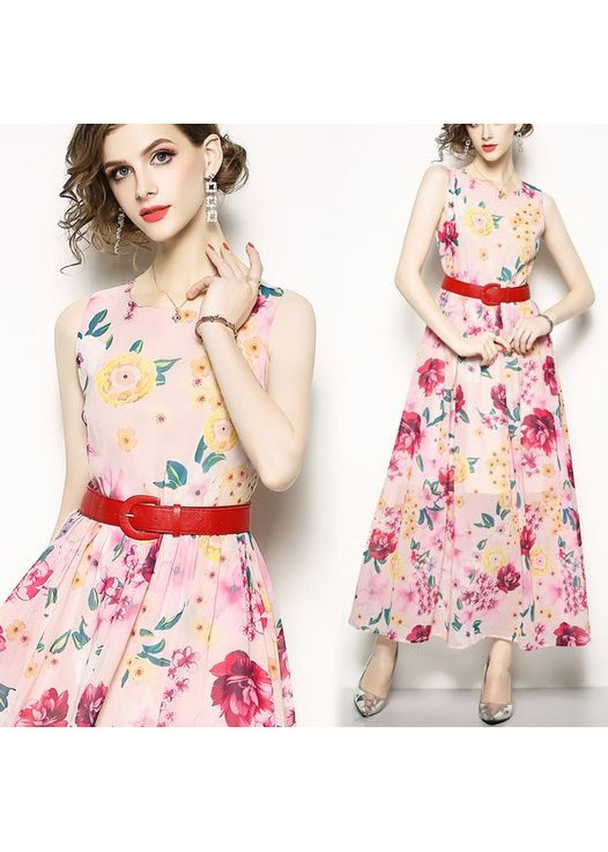 Pink color Dresses . Flower Pattern Euro-American Style Dress -