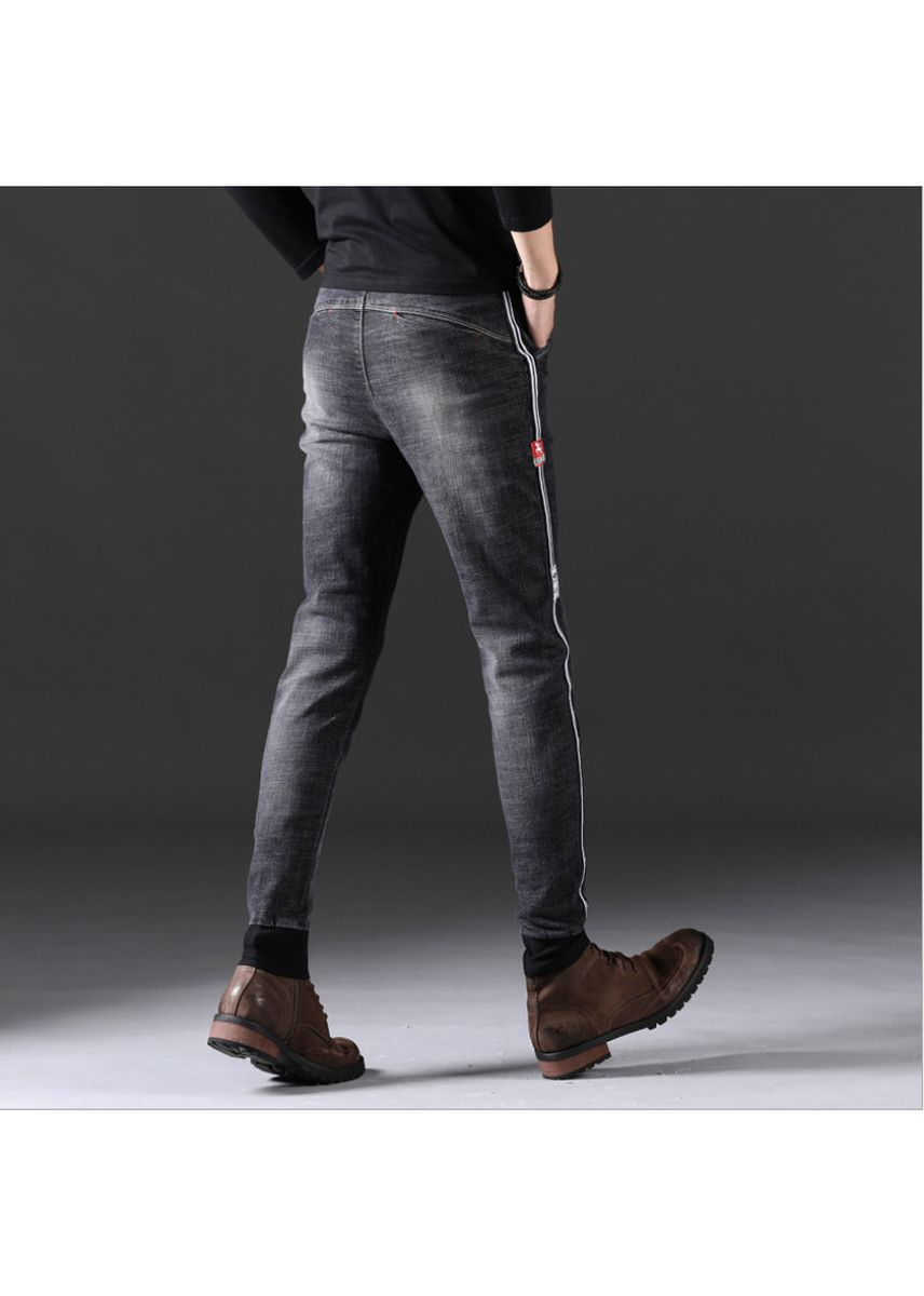 Black color Jeans . New men's jeans fashion slim stretch pants -