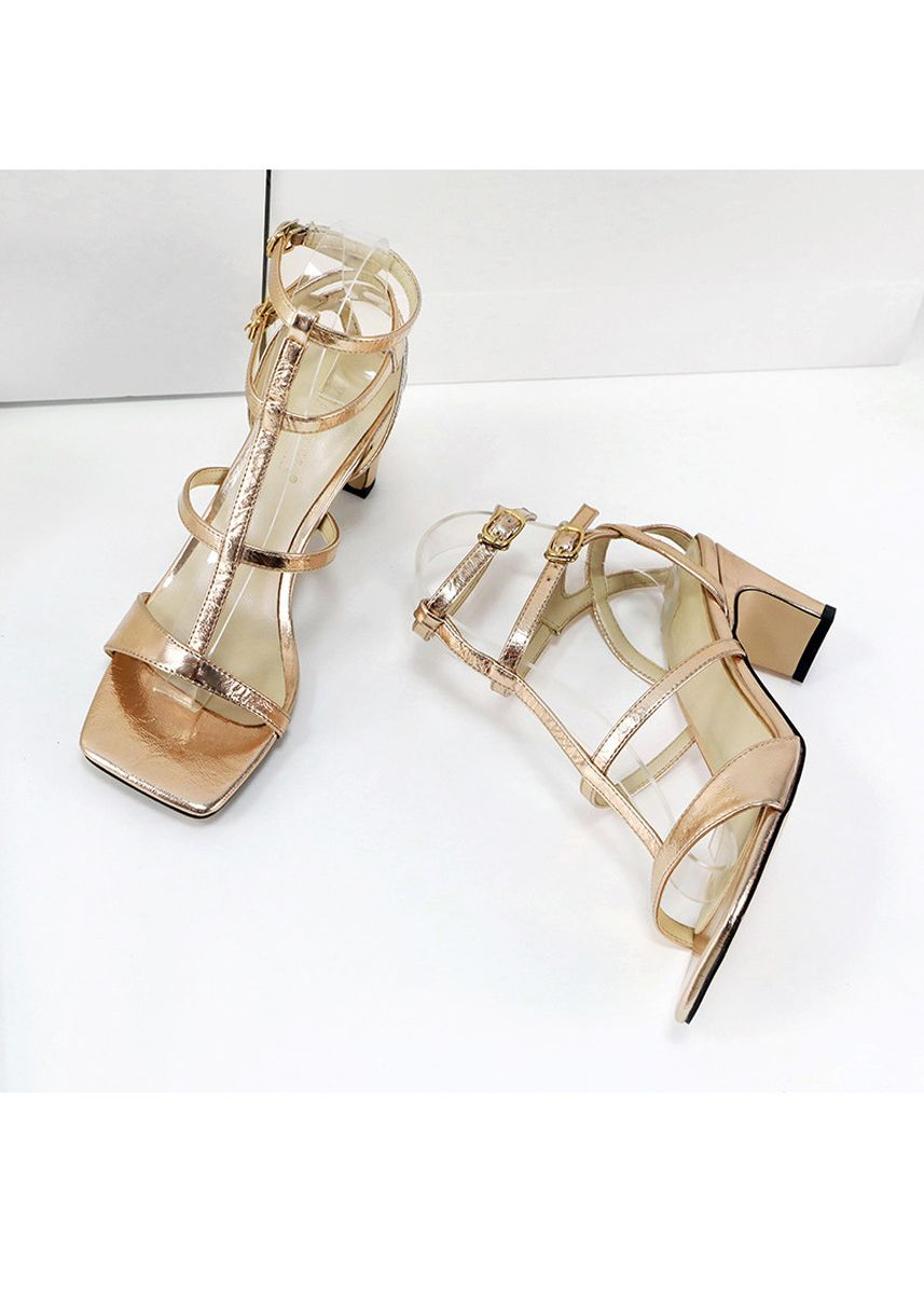 Gold color Heels . Sexy glossy open-toed high-heeled sandals -