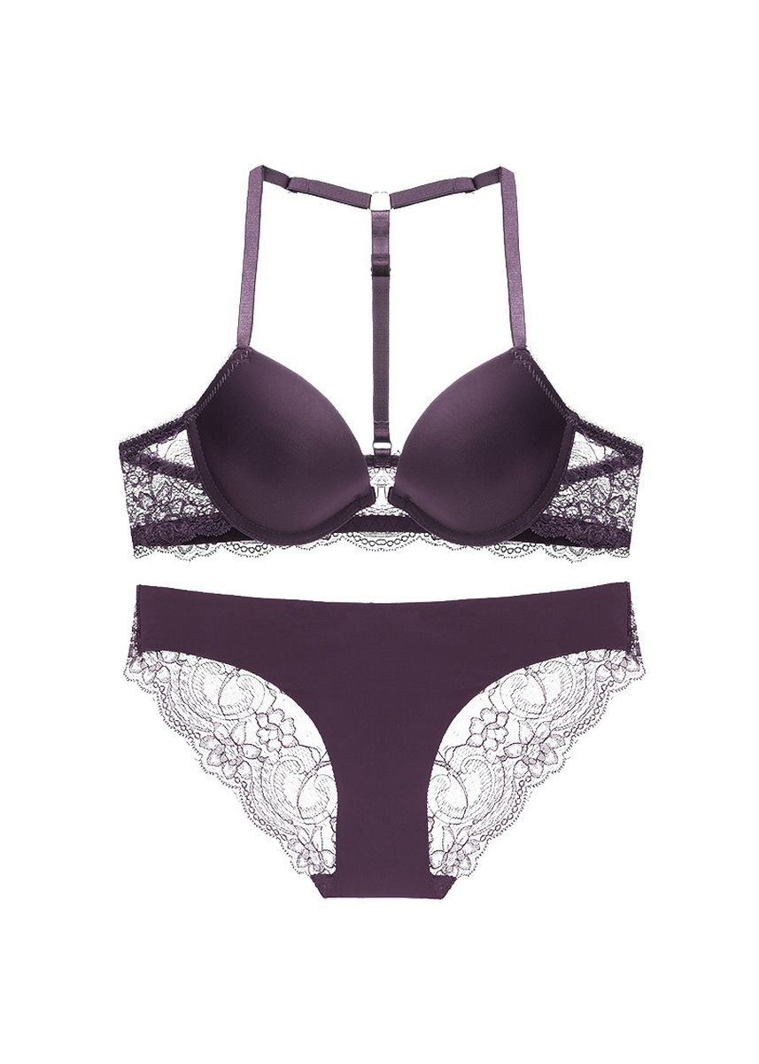 Purple color Bra Sets . Europe and America Y-shaped Front Buckle Back Lace Bra Set -