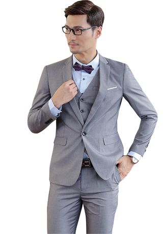 เทา color ชุดเสื้อผ้า . Men's suit 2 piece suit [suit  + pants]  4 colors -
