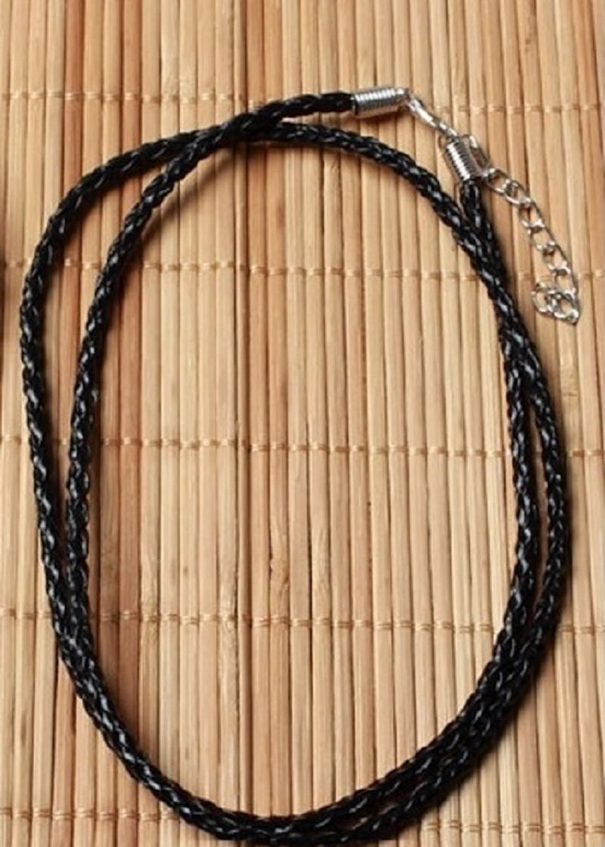 Black color Necklaces . Braided Rope Necklace Leather Cord Necklace 3mm (60cm) -