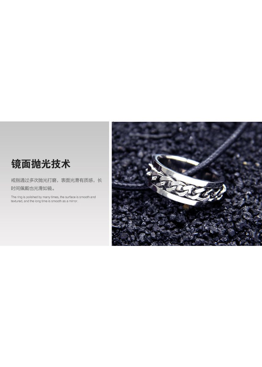 Silver color Rings . Pure Titanium Steel Ring+Free Korean Waxed Leather Cord Necklace -