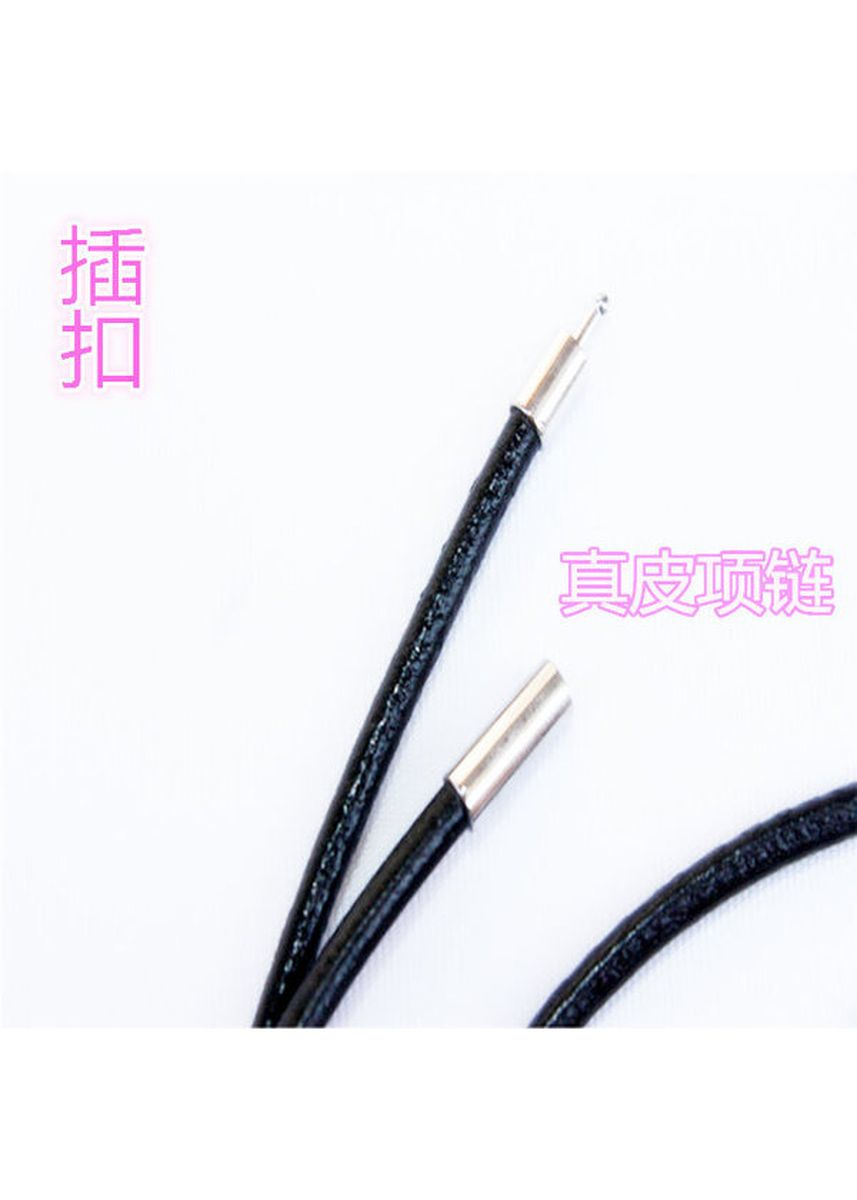 Black color Necklaces . Buckle Type Genuine Cowhide Leather Cord Necklace (3mm) -