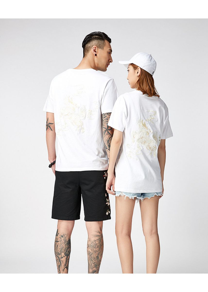 White color T-Shirts and Polos . Chinese style unicorn embroidery wide cotton half sleeve short sleeve -