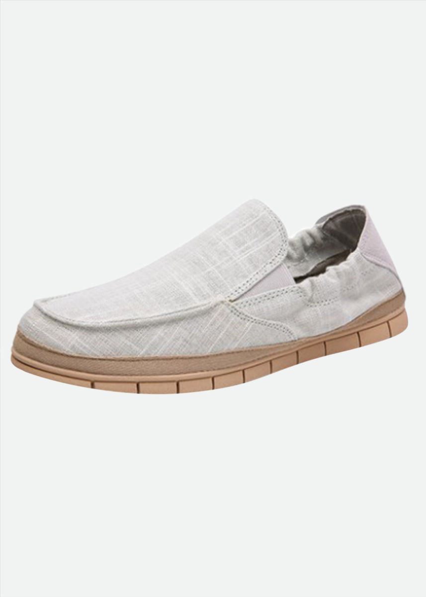 White color Casual Shoes . Male Pure Color Simple Design Soft Outsole Skid Resistance Casual Shoes -