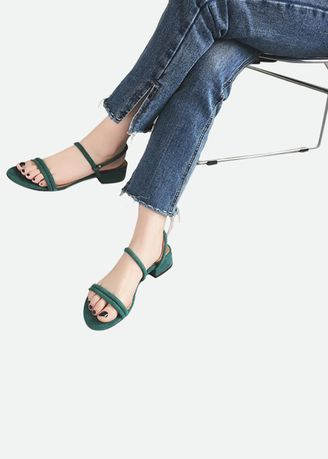 Green color Sandals and Slippers . Kittyboots รองเท้ารัดส้น หนังกลับ -