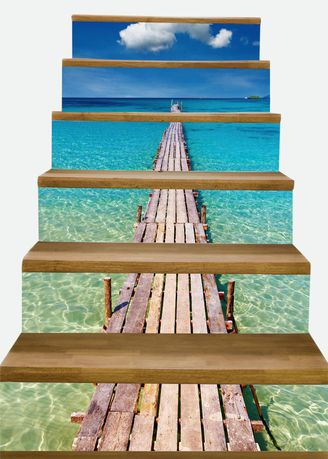 Home Decor . 3D Seaside Pier Stairs Wallpaper Stickers Waterproof Home Decor -