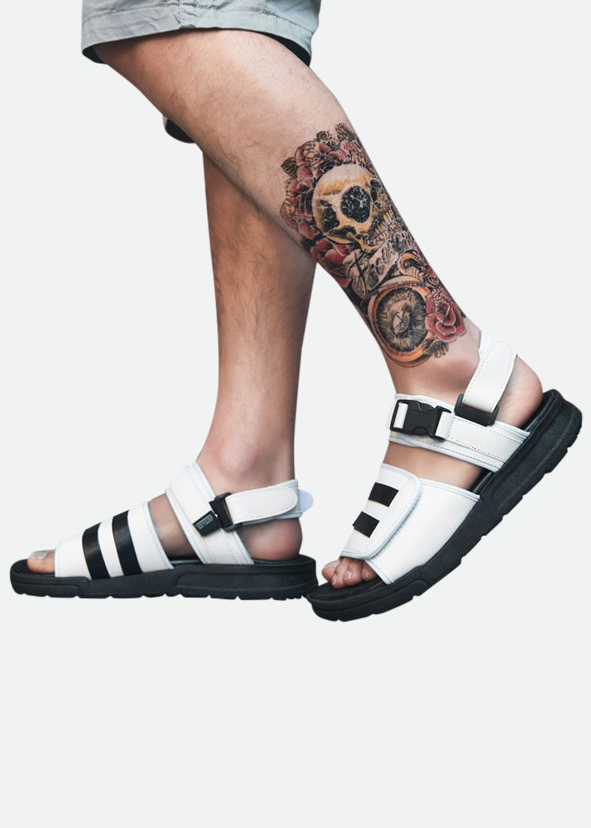 White color Sandals and Slippers . Mens 2Way Sandals For Summer -