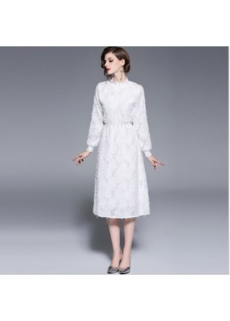 White color Dresses . White Feather Embroidery Stitching Dress -
