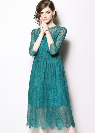 Green color Dresses . Hollow Lace High-end Dress -