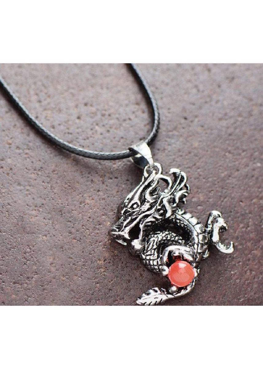 Black color Necklaces . 3D Dragon-shaped Stainless Steel Ruby Pendant + Necklace -