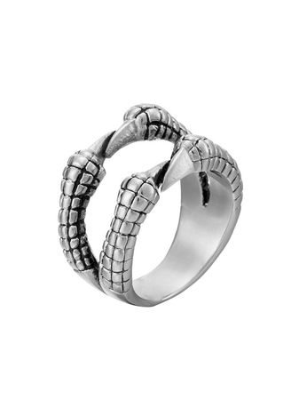 Silver color Rings . Korean Vintage Style Stainless Steel Unisex Dragon Paw Ring -