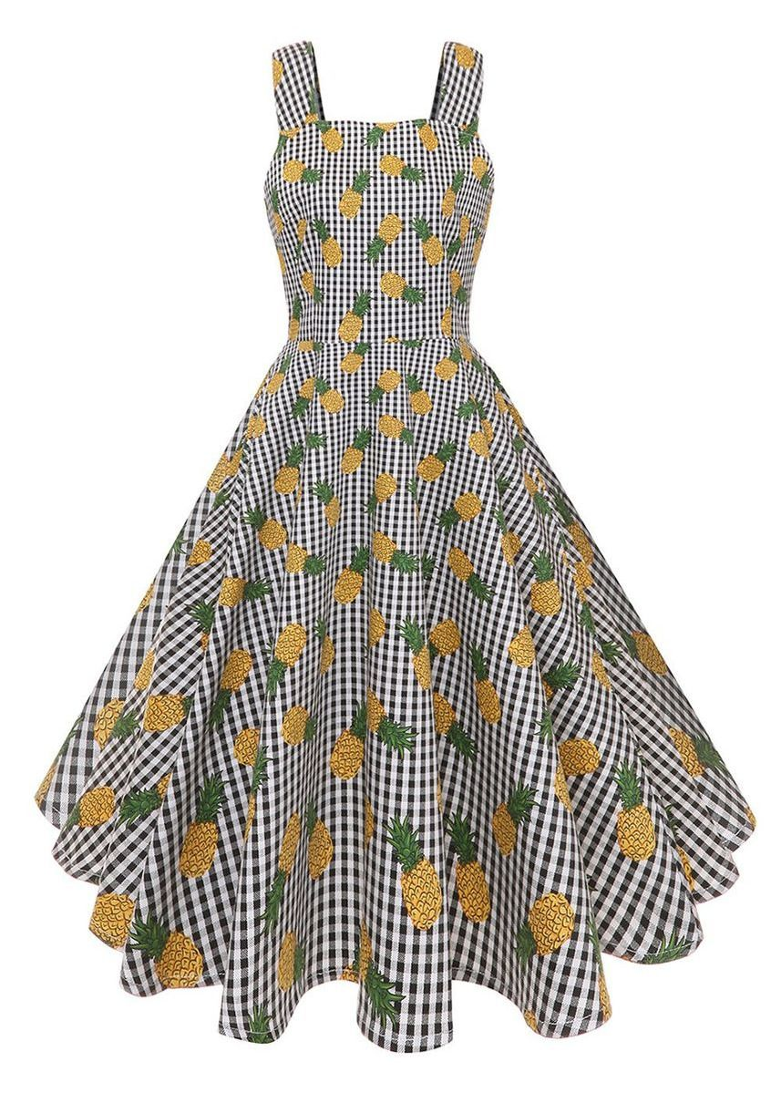 Yellow color Dresses . Vintage Pineapple Plaid Dress -