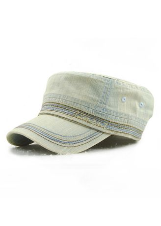 Olive color Hats and Caps . Men's Embroidery Casual Cotton Outdoor Flat Hat -
