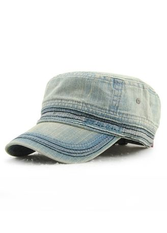 Light Blue color Hats and Caps . Men's Embroidery Casual Cotton Outdoor Flat Hat -