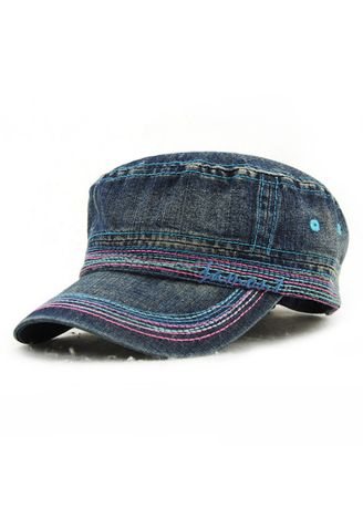 Navy color Hats and Caps . Men's Embroidery Casual Cotton Outdoor Flat Hat -