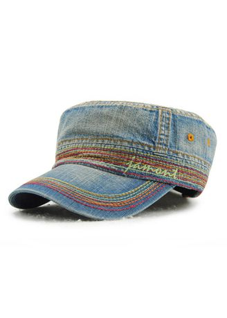 Blue color Hats and Caps . Men's Embroidery Casual Cotton Outdoor Flat Hat -