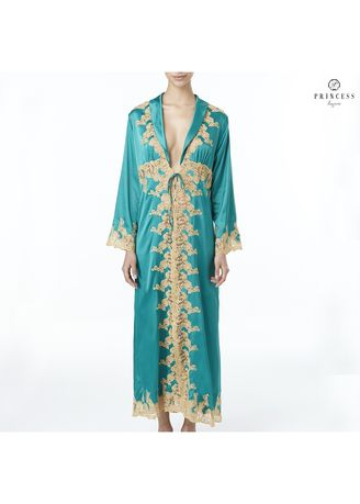 Green color Night Suits . Princess Lingerie ARABIAN EMBROIDERED TULLE AND SATIN SILK MAXI ROBE BISTRO GREEN -