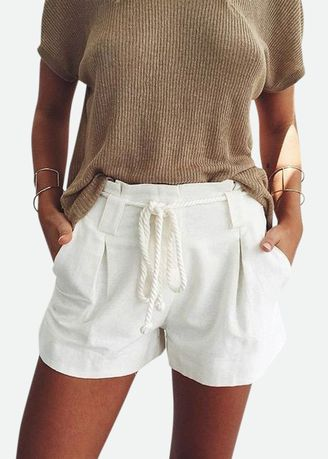 ขาว color กางเกงขาสั้น . Women'S Fashion Shorts White Simple Leisure -