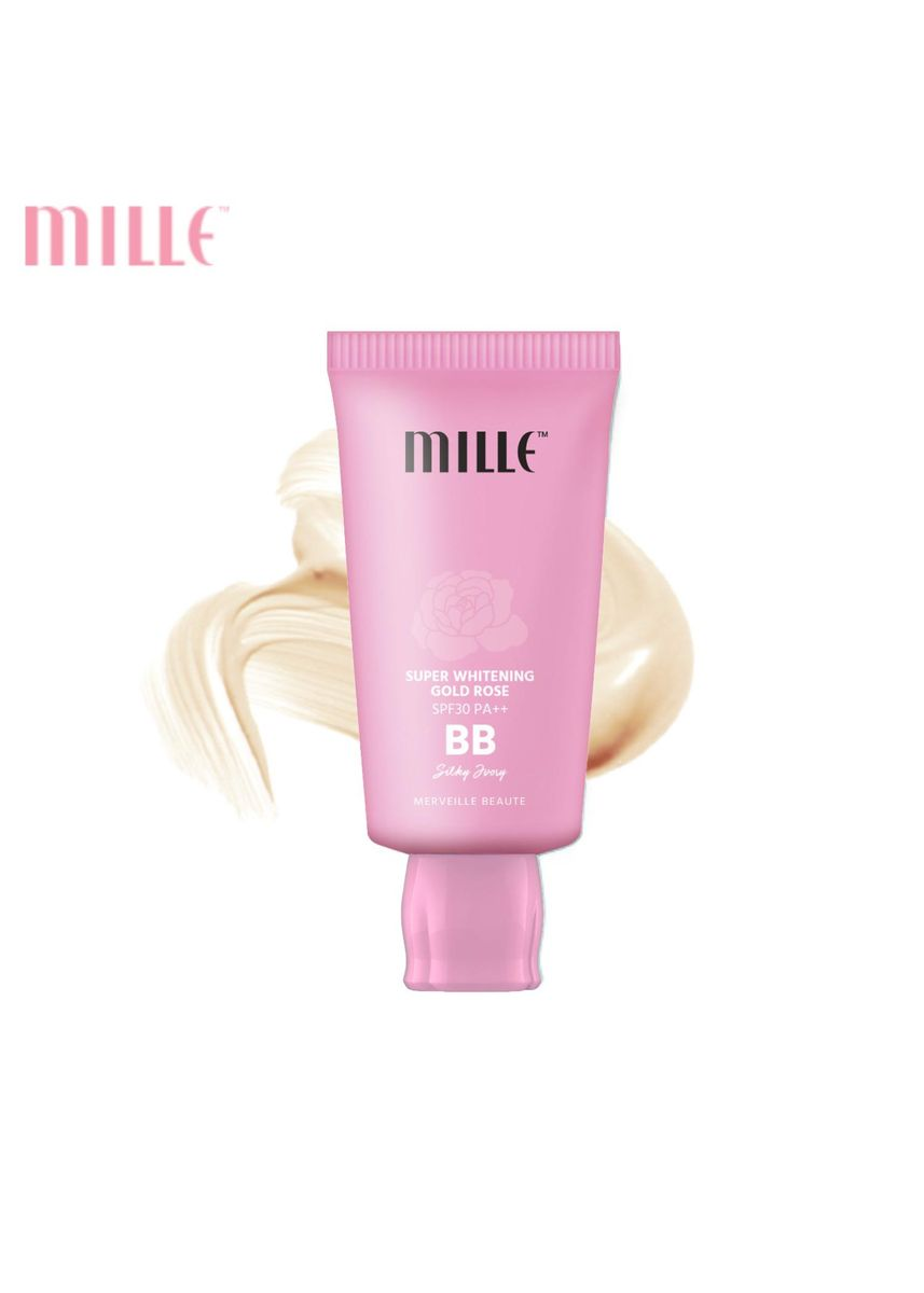 ไม่มีสี color หน้า . Mille บีบีชมพู Super Whitening Gold Rose BB Cream SPF30 PA++ 30 g. 01 Silky Ivory -