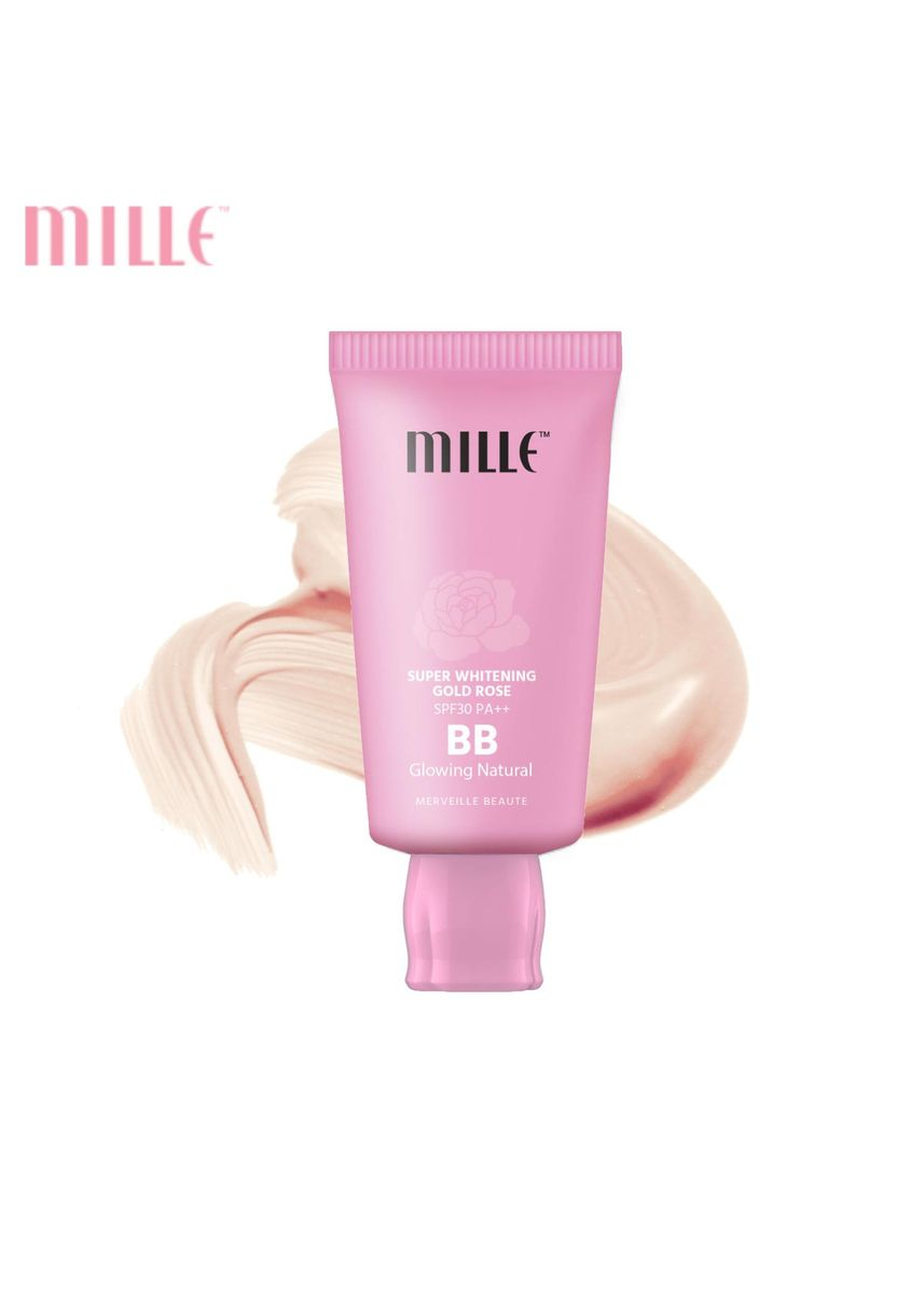 No Color color Face . Mille บีบีชมพู Super Whitening Gold Rose BB Cream SPF30 PA++ 30 g. 02 Glowing Nature -