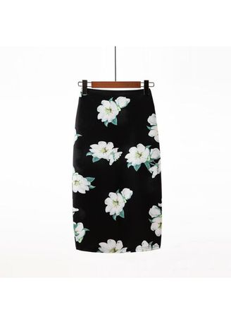Black color Skirts . Omax Elastic High Waist Pencil Skirt -