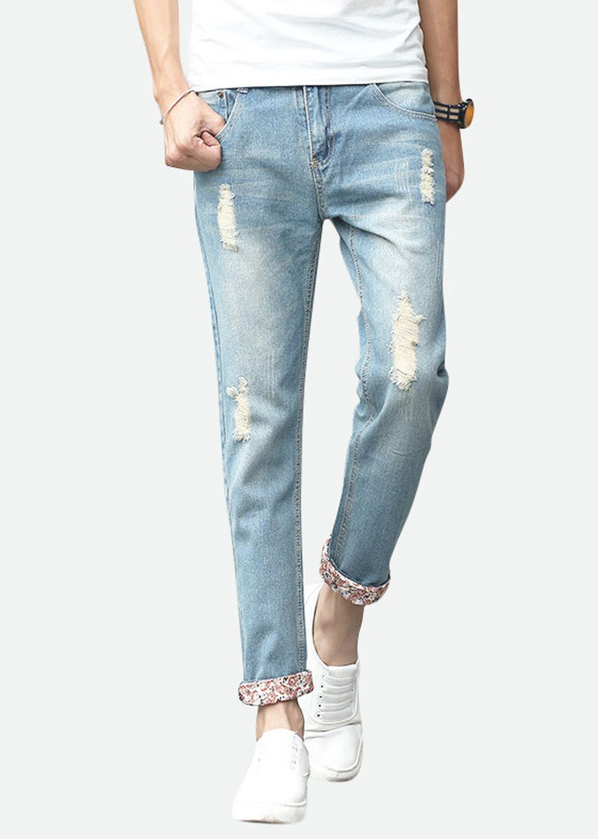 Multi color Jeans . Mens Distressed Straight Destroy Wash Jeans -