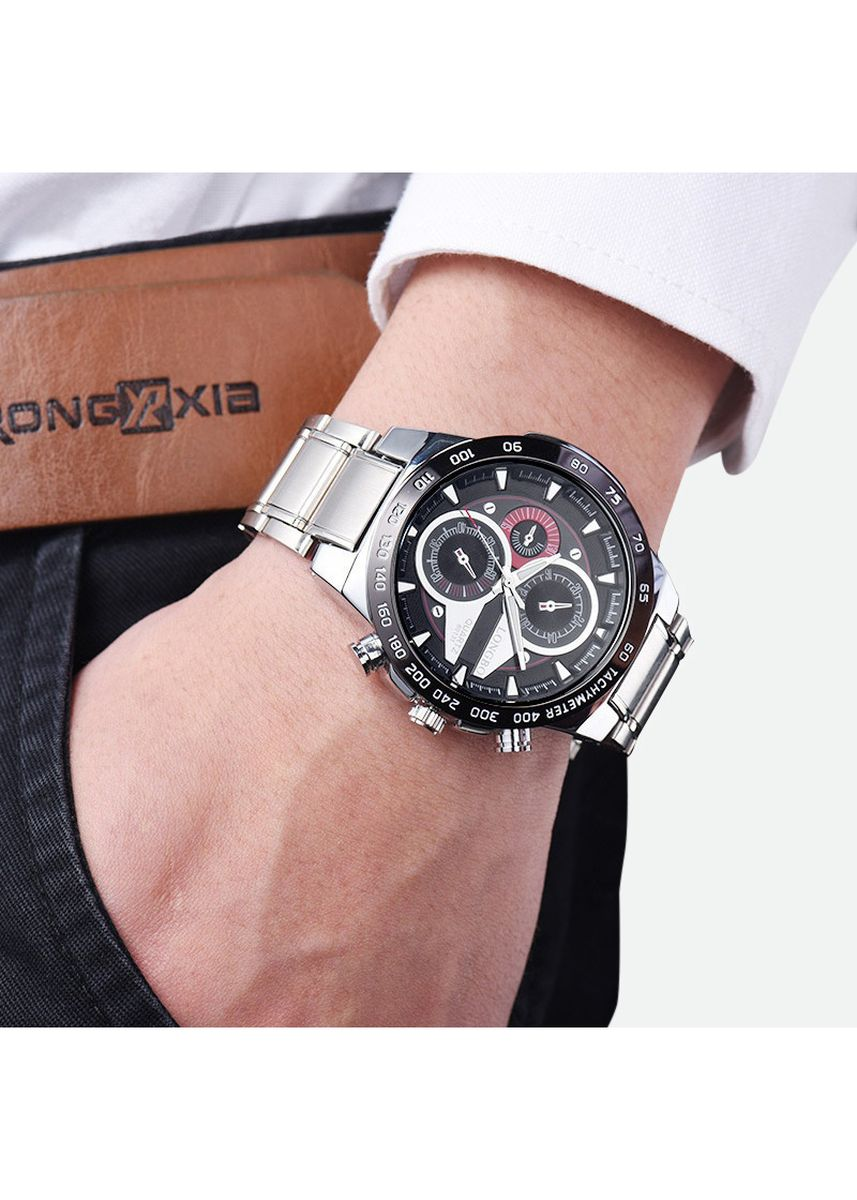 ดำ color โคโนกราฟ .  Fashion Men's Chronograph Watch Quartz Steel Strap Waterproof Luminous Sports  -