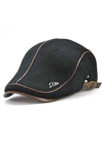 Black color Hats and Caps . British Style Leisure Thick Warm Beret -