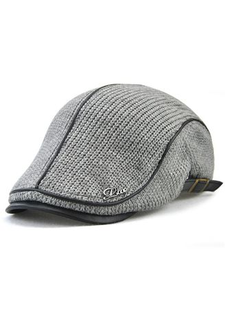 Grey color Hats and Caps . British Style Leisure Thick Warm Beret -