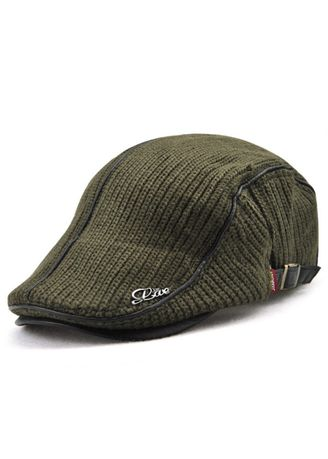 Green color Hats and Caps . British Style Leisure Thick Warm Beret -