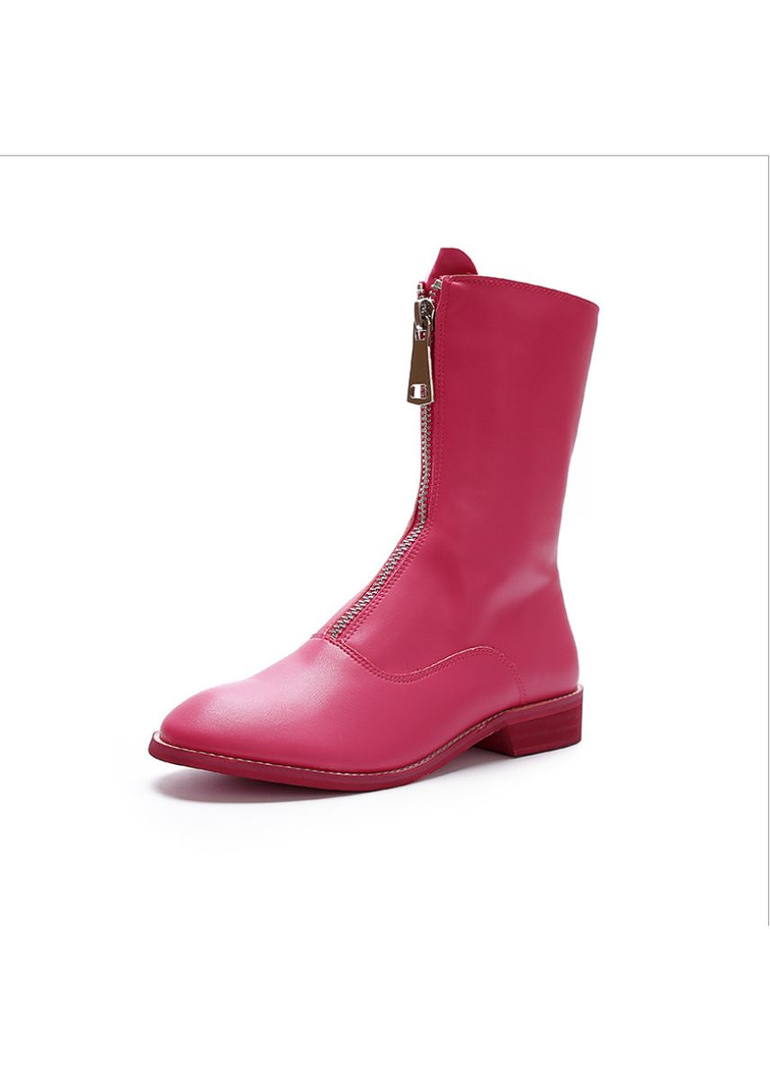 Pink color Boots . Women's Style Front Zipper the Autumn Boots  -