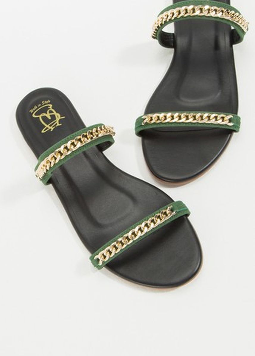 Green color Sandals and Slippers . รองเท้าแตะ Kelly c2 -