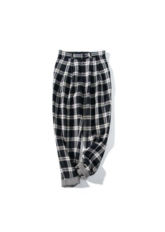 cc79ad22aa2b Worsted double-faced woolen radish plaid English casual loose feet  fashionable trousers