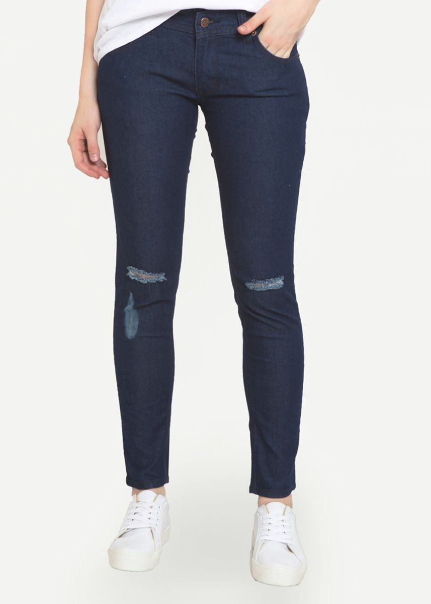 Biru Dongker color Celana Jeans . 2Nd RED Ripped Jeans Slim Fit Jeans Sobek Biru Dongker 233204 -