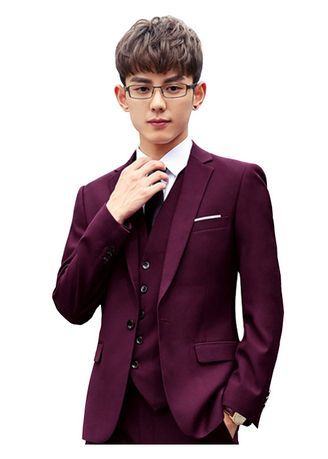 แดง color ชุดเสื้อผ้า . Men Suits Set With Trousers Casual Slim Fit Dress Business Suit -
