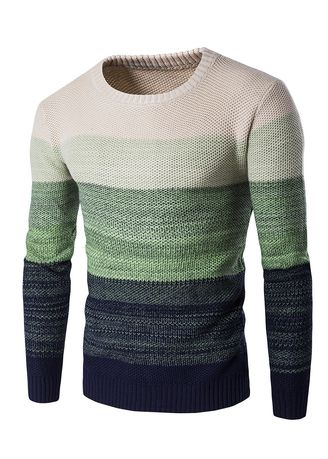 Green color Sweaters . Round Collar Stripe Matching Long Sleeve Swearter -