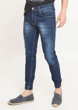 Blue color Jeans . 2Nd Red Jogger Jeans Premium Bahan Melar  Warna Biru 112606 -