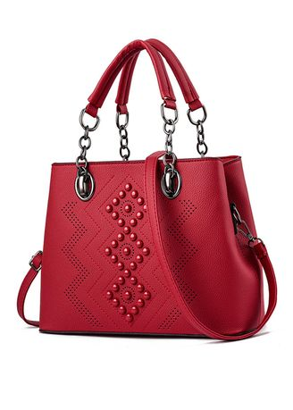 Red color Hand Bags . Round Beads Decoration Vintage Hand Bag -