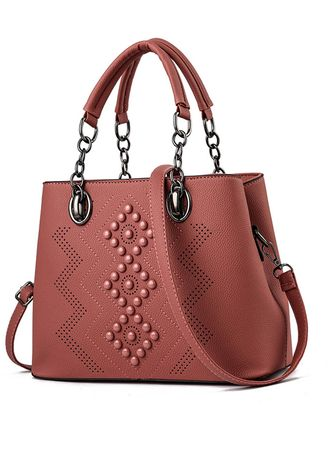 Pink color Hand Bags . Round Beads Decoration Vintage Hand Bag -