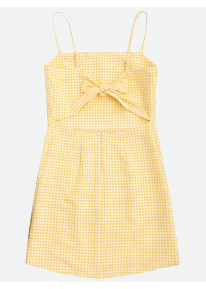 Yellow color Dresses . Checked Bowknot Cut Out Mini Dress -