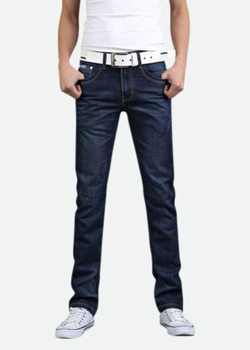 Blue color Jeans . Men's Jeans Teen Casual Slim Straight Jeans Trousers -