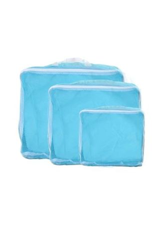 Cyan color Travel Wallets & Organizers . Travel Manila 3 in 1 Packing Cubes (Sky Blue) -