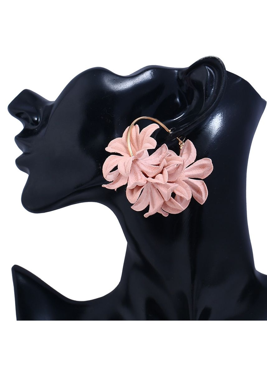 ชมพู color  . MISSYJO New Design Luxury Romantic Handicraft Flower Earrings -